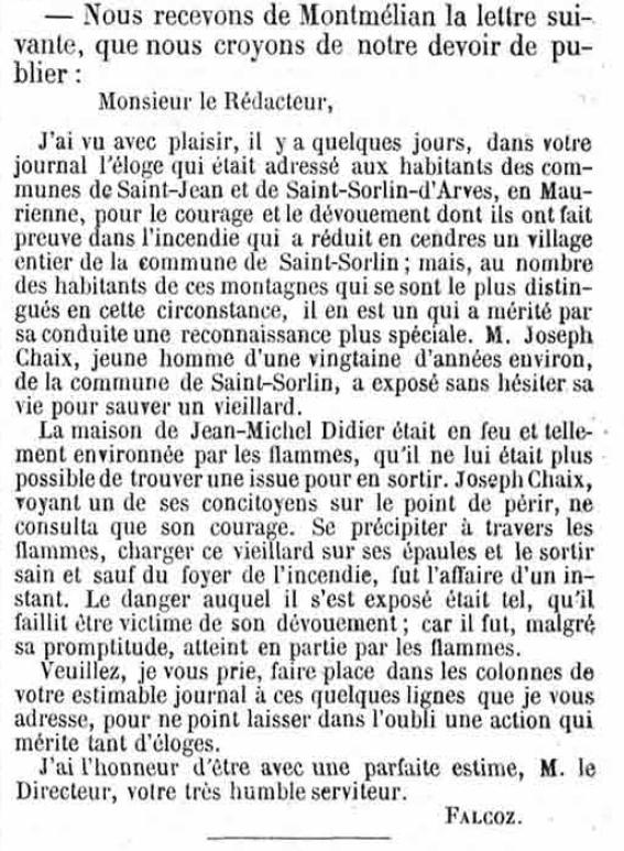 La Gazette de Savoie, 05/10/1854, disponible en ligne via