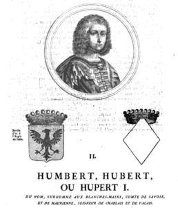 Portrait d'Humbert Ier dans GUICHERON, Samuel, Histoire généalogique de la royale Maison de Savoie, vol. 1, 1660. Disponible sur gallica.bnf.fr