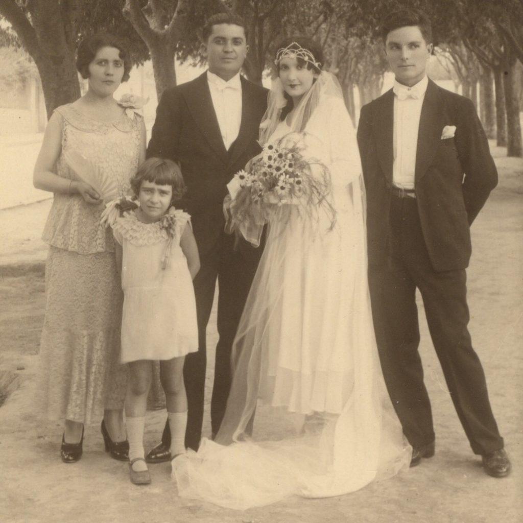 Mariage de Denis Blanchard et Eliane Rouquayrol, mes AGP, en 1931 à Palikao. Archives familiales.